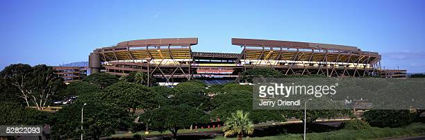 Exterior view of Aloha Stadium prior to the NFL Pro Bowl on February 13 2005 at Aloha Stadium in Honolulu Hawaii The AFC team defeated the NFC team...