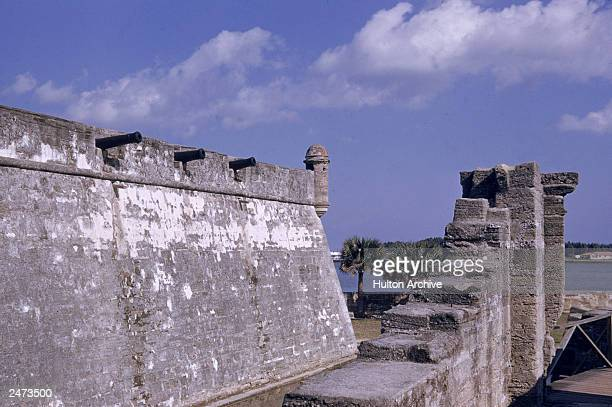 Exterior view of Castillo de San Marcos a masonry fort completed in 1695 St Augustine Florida