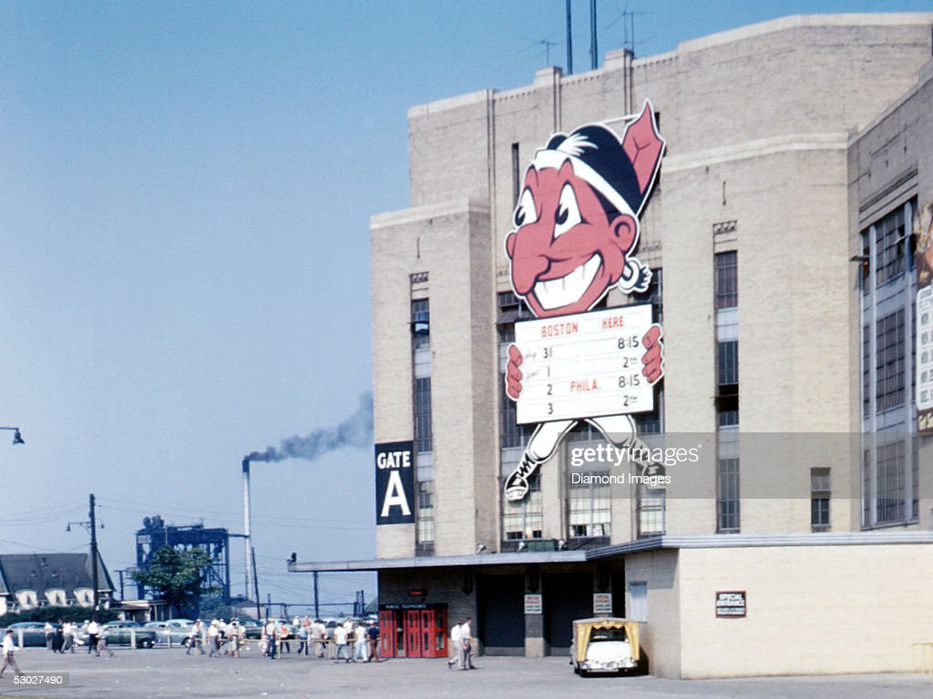 Exterior view of Gate A at Municipal Stadium prior to a game between the Cleveland Indians and the Boston Red Sox on September 1 1953 in Cleveland...