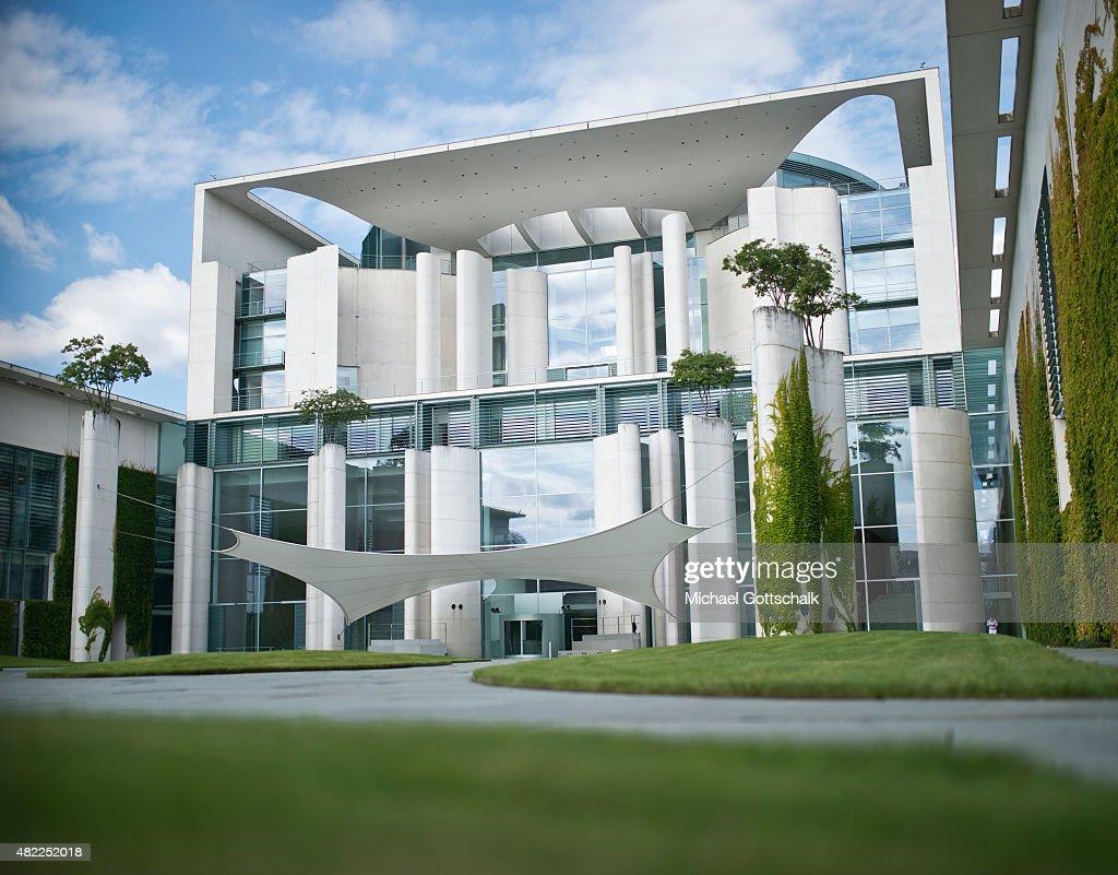 Exterior View of German Chancellery or Bundeskanzleramt on July 29 2015 in Berlin Germany