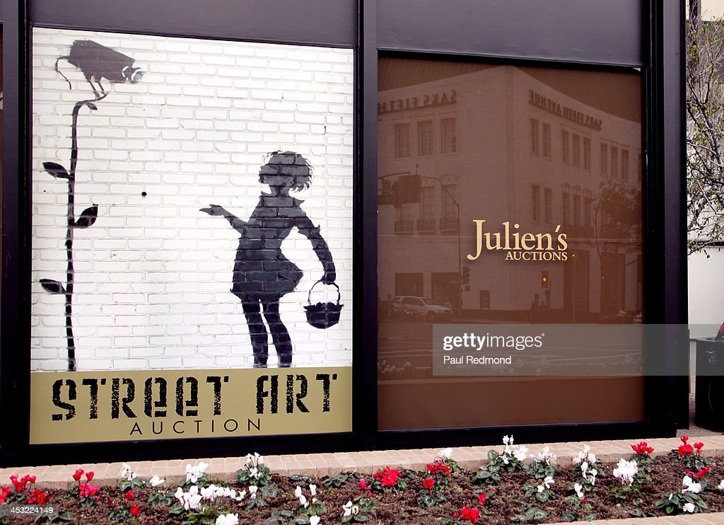 Exterior view of Julien's Gallery for Julien's Auctions present The Trilogy Collection: Props and Costumes from Middle Earth, Street Art Auction and Icons and Idols: Rock n' Roll Memorabilia at Julien's Gallery on December 2, 2013 in Beverly Hills, California.