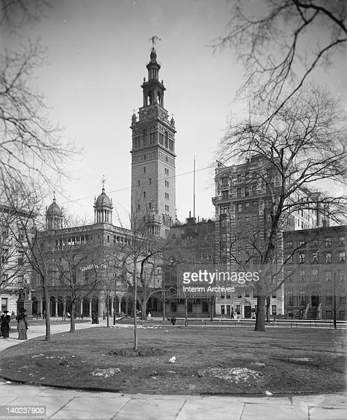 Exterior view of Madison Square Garden on the corner of 26th and Madison Avenue in New York City as seen from Madison Square Park circa 1900 It was...