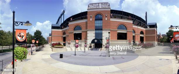 Exterior view of Oriole Park at Camden Yards from Schaefer Circle prior to the American League game between the Baltimore Orioles and the New York...