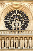 Exterior view of rose window, Notre Dame Cathedral, Paris
