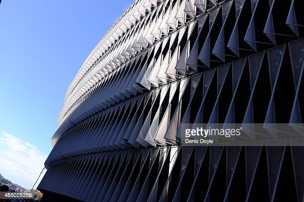 Exterior view of San Mames stadium ahead of the La Liga match between Athletic Club and FC Barcelona at San Mames Stadium on August 23 2015 in Bilbao...