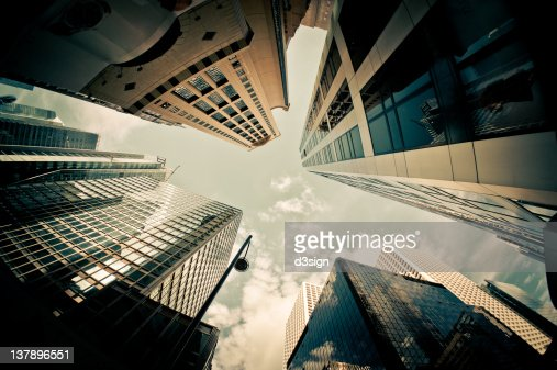 Exterior view of skyscrapers : Bildbanksbilder