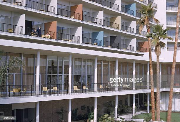 Exterior view of the balconies of the Beverly Hills Hilton California circa 1950s