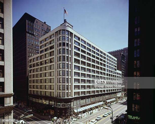 Exterior view of the Carson Pirie Scott department store on the southeast corner of State and Madison Streets Chicago IL ca1960s Designed by Louis H...