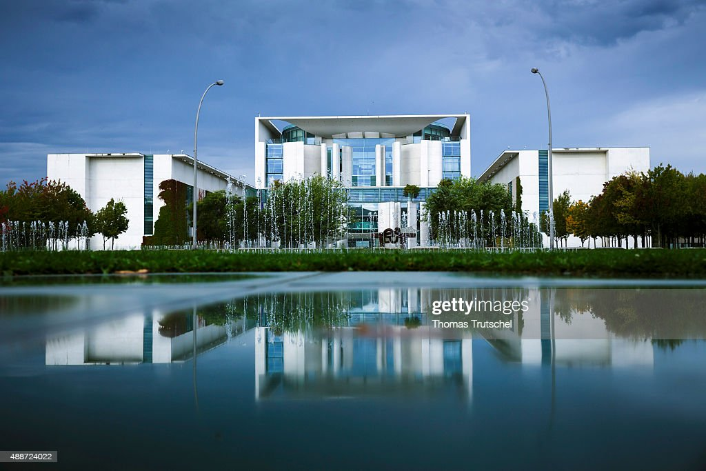 Exterior view of the Chancellery in front of dark clouds on September 17 2015 in Berlin Germany
