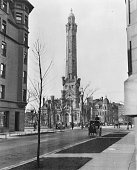Exterior view of the Chicago Water Tower located on Chicago and Michigan Avenues Chicago Illinois 1909
