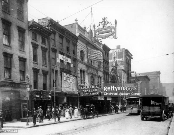 Exterior view of the Columbia Theater with marquee advertising popular five cent shows Cincinnati 1901 The Columbia Theater was a leading vaudeville...