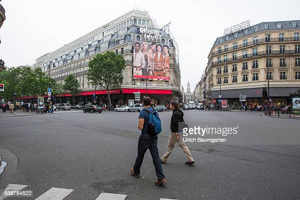 Exterior view of the department store Galeries Lafayette in the French capital
