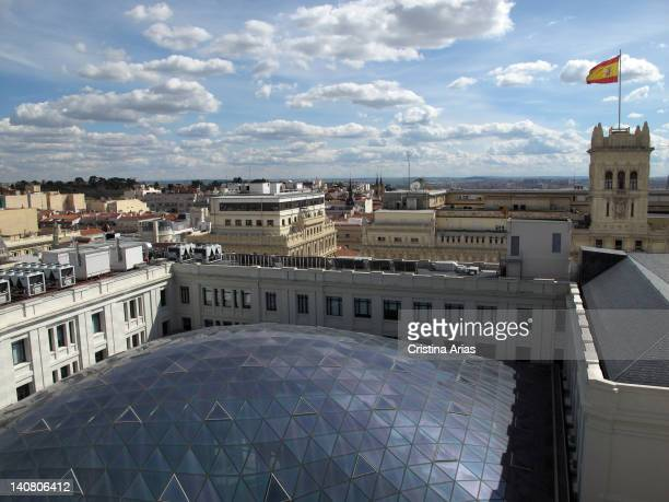 Exterior view of the dome of the 'Glass Gallery' Cibeles Palace from the lookout in the tower Madrid City Hall the restoration carried out since 2007...