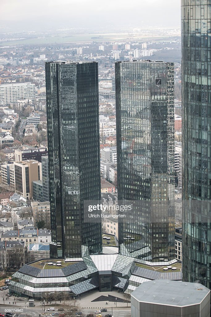 Exterior view of the headquarters of Deutsche Bank AG. Right the Main Tower.