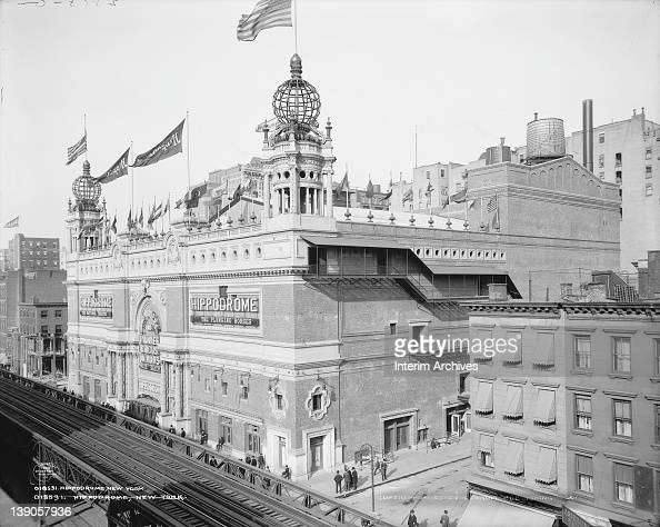 Exterior view of the Hippodrome a theater designed for stage productions vaudeville and circus performances and later adapted to screen films located...