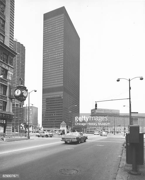 Exterior view of the IBM Building from East Wacker Drive and North Wabash Avenue Chicago Illinois July 6 1975 The Chicago SunTimes building is also...