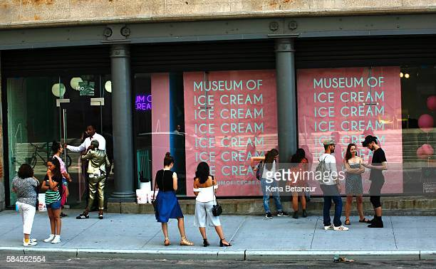 Exterior view of the Museum of Ice Cream across from the Whitney Museum on July 29 2016 in New York City The temporary museum dedicated to all things...