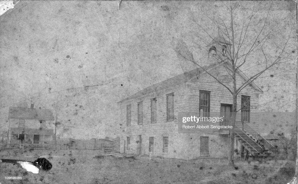Exterior view of the Pilgrim Congregational Church, in Savannah, GA, late nineteenth century. From 1878 to 1889, Chicago Defender founder Robert Sengstacke Abbott lived in its parsonage, while his stepfather, John H. H. Sengstacke, was the minister.