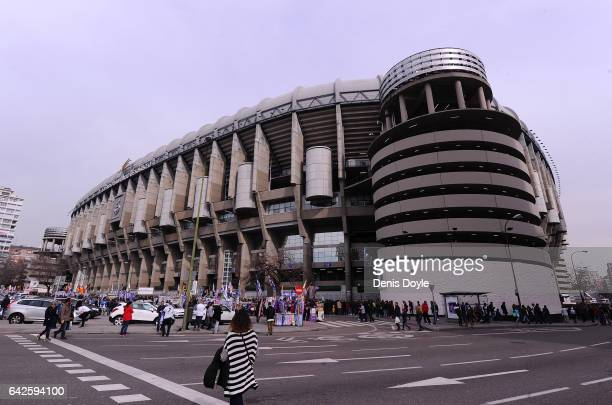 Exterior view of the Santiago Bernabeu stadium before the La Liga match between Real Madrid CF and RCD Espanyol at the Bernabeu stadium on February...