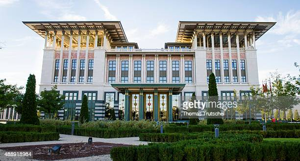 Exterior view of turkish Presidential Palace on September 18 2015 in Ankara Turkey