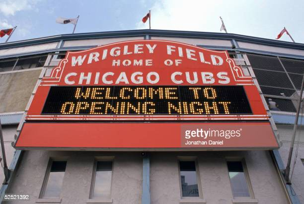 Exterior view of Wrigley Field's marquee welcoming fans for the home opening game between the Chicago Cubs and the Philadelphia Phillies at Wrigley...