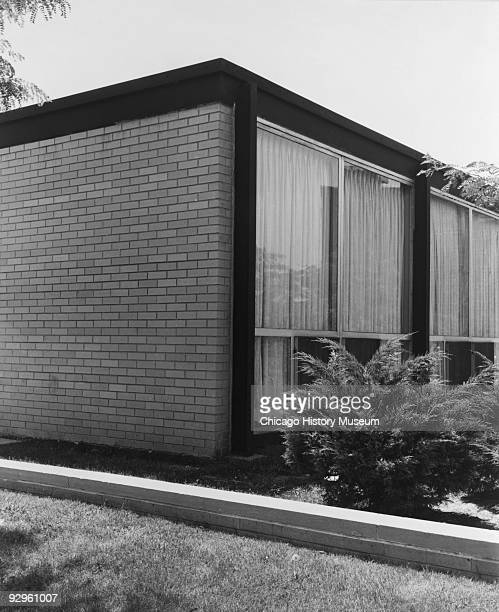 Exterior view showing the corner of lowrise townhouse building which is part of the Lafayette Park development in Detroit MI 1974 The complex which...
