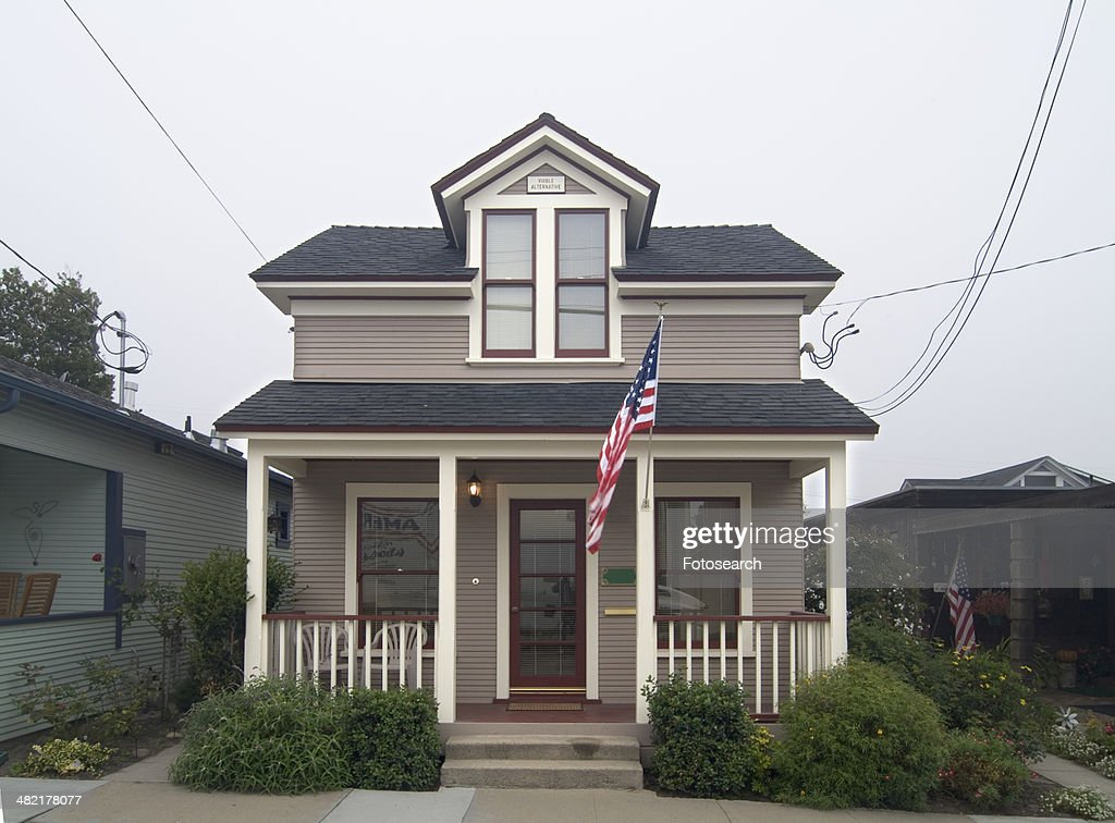 Exterior view two story american craftsman styled bungalow for Two story craftsman