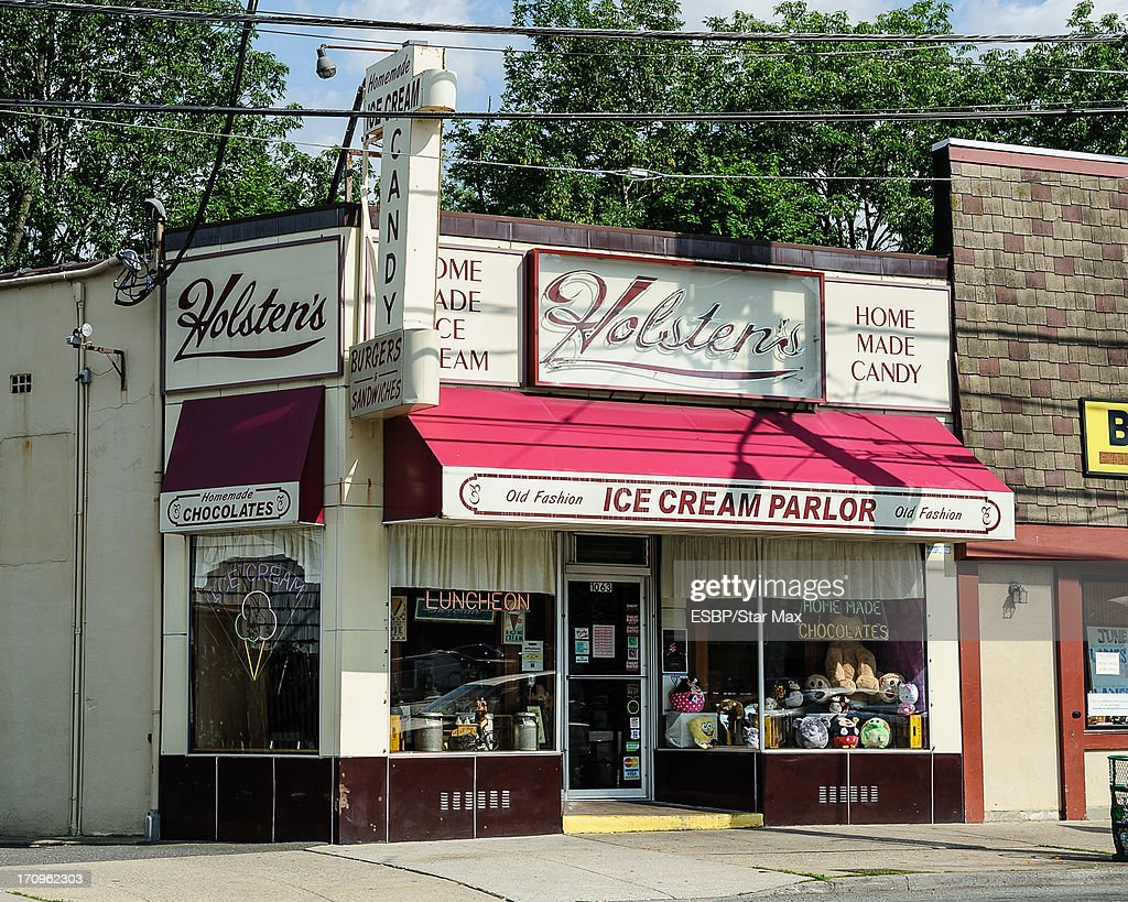 Exterior views of a James Gandolfini tribute at Holsten's Ice Cream Parlor as seen on June 20, 2013 in Bloomfield, New Jersey.