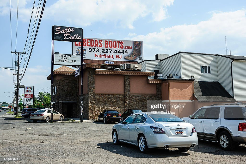 Exterior views of a James Gandolfini tribute at Satin Dolls as seen on June 20, 2013 in Lodi, New Jersey.