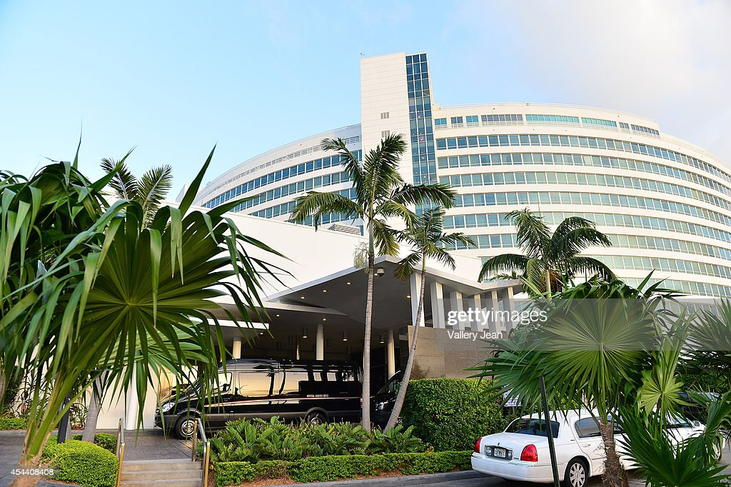 Exterior views of the Fontainebleau Miami Beach with limo bus waiting to drive guests of Dwyane Wade and Gabrielle Union to their wedding location on August 30, 2014 in Miami, Florida.