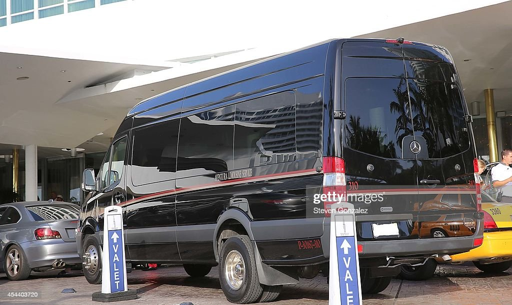 Exterior views of the Fontainebleau Miami Beach with limo bus waits to drive guests of Dwyane Wade and Gabrielle Union to their wedding location