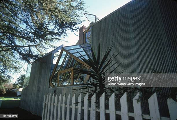Exterior with white picket fence of Canadianborn American architect Frank Gehry's house which he designed Santa Monica California January 1980