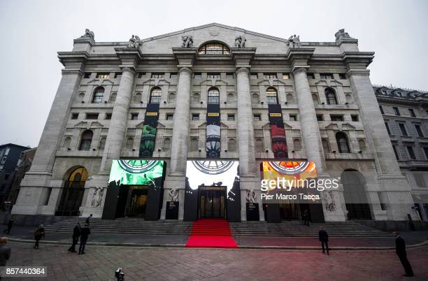 Externa view of StockExchange building in piazza Affari during ceremony of the return of Pirelli to the Milan StockExchange on October 4 2017 in...