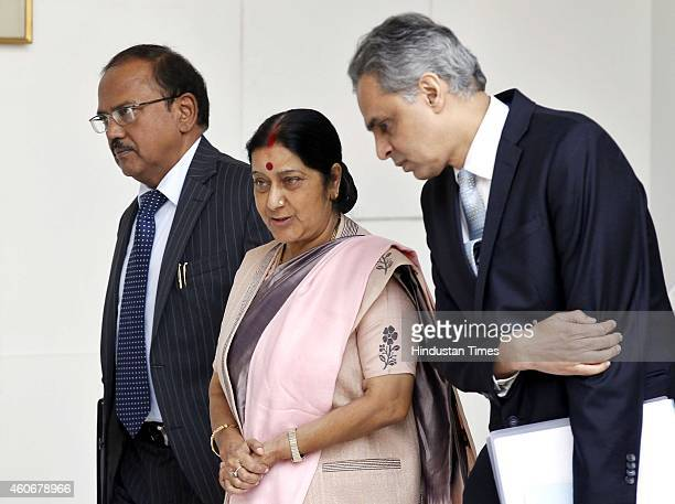 External affair minister Sushma Swaraj MEA spokesperson Syed Akbaruddin and National Secrutiy Advisor Ajit Doval before meeting with Bangladesh...