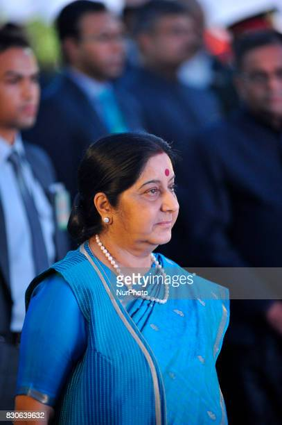External Affairs Minister of India Sushma Swaraj attend reception hosted at India House to mark 70 Years of India's independence at Kathmandu Nepal...