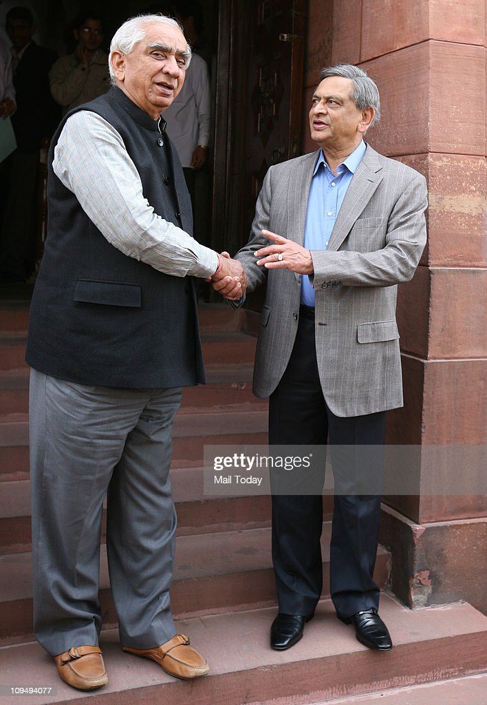 External Affairs minister SM Krishna and BJP leader <a gi-track='captionPersonalityLinkClicked' href=/galleries/search?phrase=Jaswant+Singh&family=editorial&specificpeople=220287 ng-click='$event.stopPropagation()'>Jaswant Singh</a> at Parliament House in New Delhi on Friday during the ongoing Budget session.