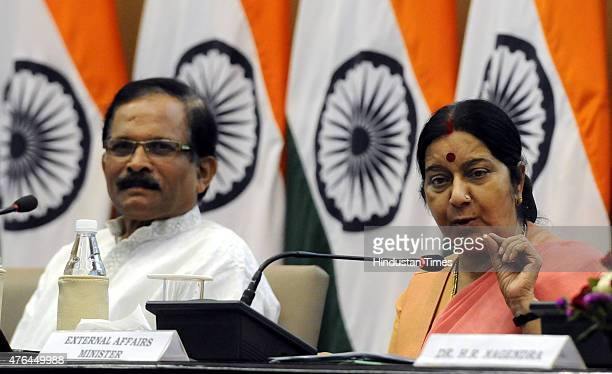 External Affairs Minister Sushma Swaraj and Shripad Yesso Naik MoS AYUSH jointly addresses the media on preparation of International Day of Yoga at...