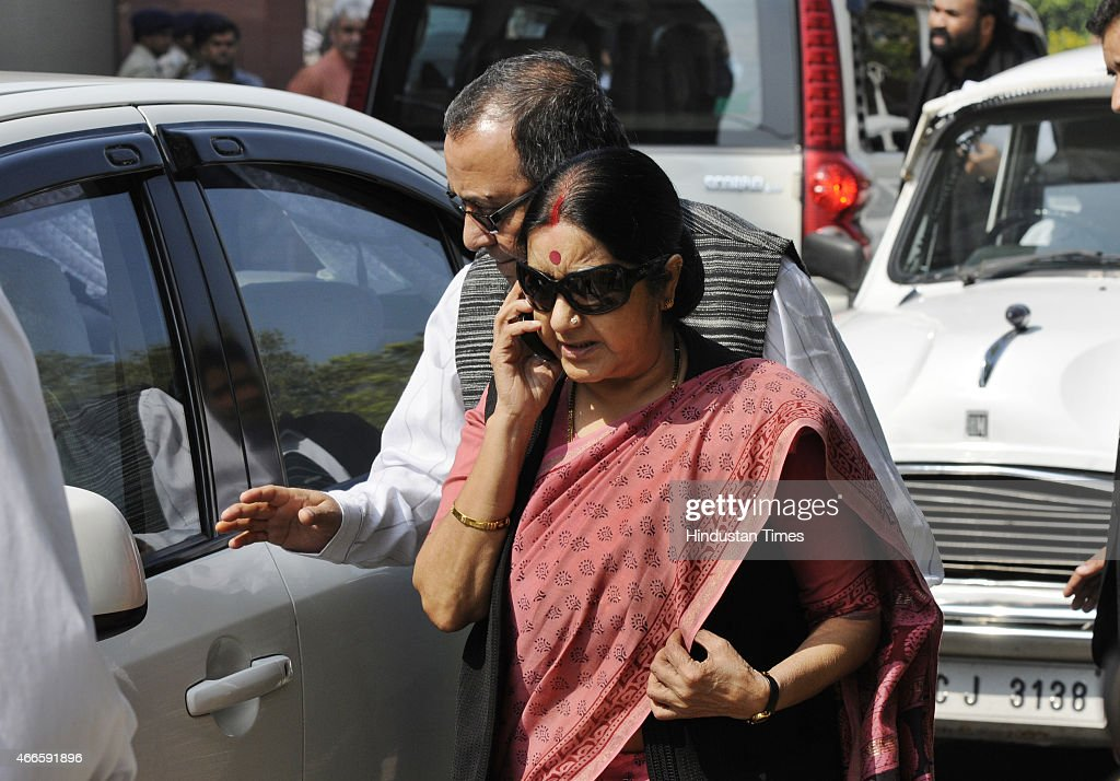 External Affairs Minister <a gi-track='captionPersonalityLinkClicked' href=/galleries/search?phrase=Sushma+Swaraj&family=editorial&specificpeople=2147656 ng-click='$event.stopPropagation()'>Sushma Swaraj</a> arrives for BJP parliamentary board meeting at Parliament House on March 17, 2015 in New Delhi, India. The BJP parliamentary board meeting was held today as Opposition parties will hold a protest march against the Land Acquisition Bill which they allege is Anti-farmer. At the meeting, where Prime Minister Narendra Modi was also present, BJP MPs were asked to ensure their presence in Parliament to show the partys strength and to ensure passage of key bills.