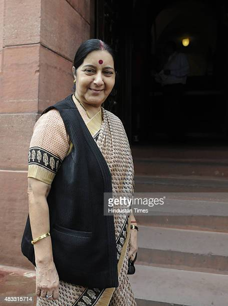 External Affairs Minister Sushma Swaraj arrives to attend the Monsoon Session at Parliament House on August 7 2015 in New Delhi India The...
