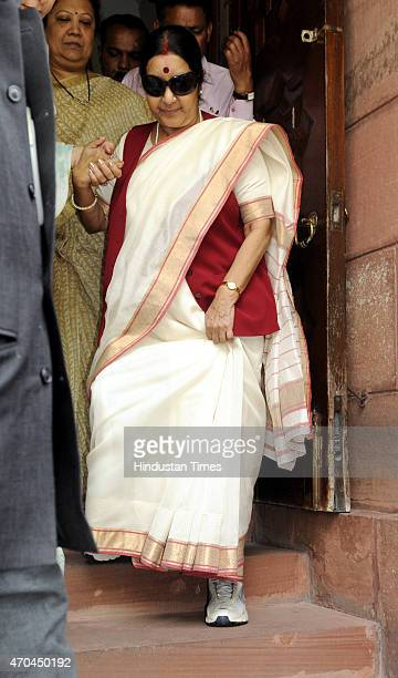 External Affairs Minister Sushma Swaraj at Parliament during the second phase of Budget Session on April 20 2015 in New Delhi India Congress leader...