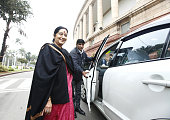 External Affairs minister Sushma Swaraj during budget session at Parliament house on March 3 2015 in New Delhi India Prime Minister Narendra Modi...