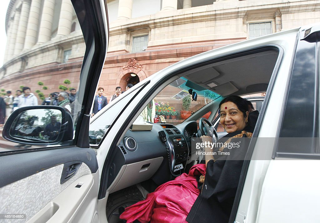 External Affairs minister <a gi-track='captionPersonalityLinkClicked' href=/galleries/search?phrase=Sushma+Swaraj&family=editorial&specificpeople=2147656 ng-click='$event.stopPropagation()'>Sushma Swaraj</a> during budget session at Parliament house on March 3, 2015 in New Delhi, India. Prime Minister Narendra Modi emphatically stated that his government has a zero-tolerance policy towards terror, distancing himself from Jammu and Kashmir Chief Minister Mufti Mohammad Sayeed's controversial statement regarding the recently held elections in the state.