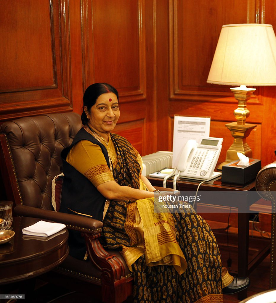 External Affairs Minister <a gi-track='captionPersonalityLinkClicked' href=/galleries/search?phrase=Sushma+Swaraj&family=editorial&specificpeople=2147656 ng-click='$event.stopPropagation()'>Sushma Swaraj</a> during meeting with newly-appointed Foreign Secretary S Jaishankar (not in the picture) after he assumed charge at Ministry of External Affairs at South Block on January 29, 2015 in New Delhi, India. S Jaishankar will be replacing Sujatha Singh whose tenure has been curtailed by nearly seven months.