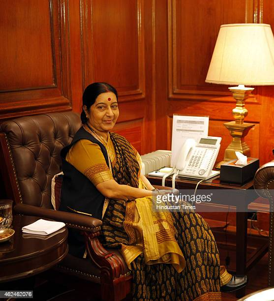 External Affairs Minister Sushma Swaraj during meeting with newlyappointed Foreign Secretary S Jaishankar after he assumed charge at Ministry of...