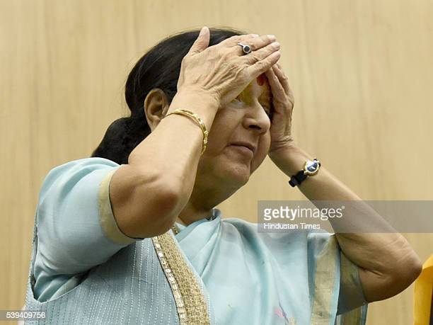 External Affairs Minister Sushma Swaraj during the flag off of first batch of Kailash Manasarover Yatra 2016 at JNB on June 11 2016 in New Delhi...