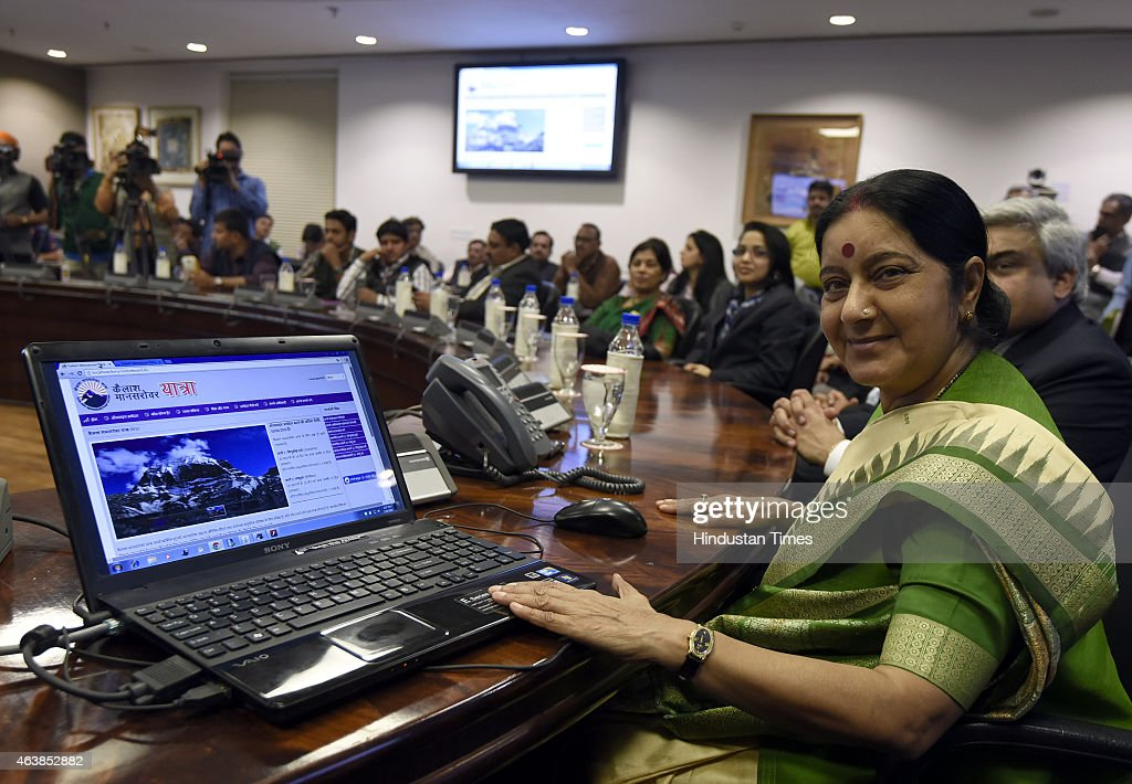 External Affairs Minister <a gi-track='captionPersonalityLinkClicked' href=/galleries/search?phrase=Sushma+Swaraj&family=editorial&specificpeople=2147656 ng-click='$event.stopPropagation()'>Sushma Swaraj</a> launches a web portal at the announcement of the new second route for the 'Kailash Manasarovar Yatra' on February 19, 2015 in New Delhi, India. The Kailash Mansarovar pilgrimage will commence June 8. Kailash Mansarovar Yatra through the new route via Nathula Pass in Sikkim will begin from June 18.