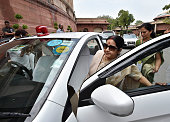 External Affairs Minister Sushma Swaraj leaves after attending the opening day of the Monsoon Session of the Parliament on July 18 2016 in New Delhi...