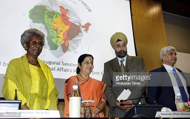 External Affairs Minister Sushma Swaraj with Ethiopian Ambassador Genet Zewdie and Vikas Swarup Joint Secretary and Navtej Sarna Secretary during the...