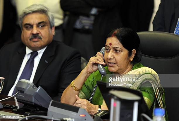 External Affairs Minister Sushma Swaraj with official during the announcement of a new second route for the 'Kailash Manasarovar Yatra' on February...