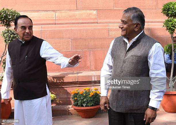 External Affairs VK Singh with Subramanian Swamy during the Parliament Winter Session on November 21 2016 in New Delhi India In a move to ban...